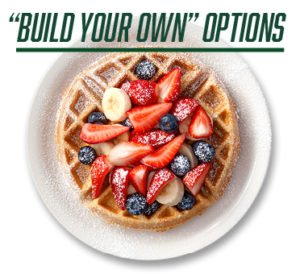 Build Your Own Options - image of waffle with strawberries, blueberries, banana