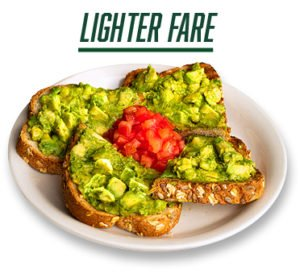 Lighter Fare - picture of avocado toast with diced tomatoes