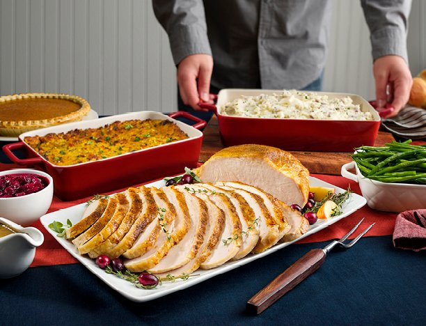 Turkey Feast with cranberry sauce, ham, stuffing